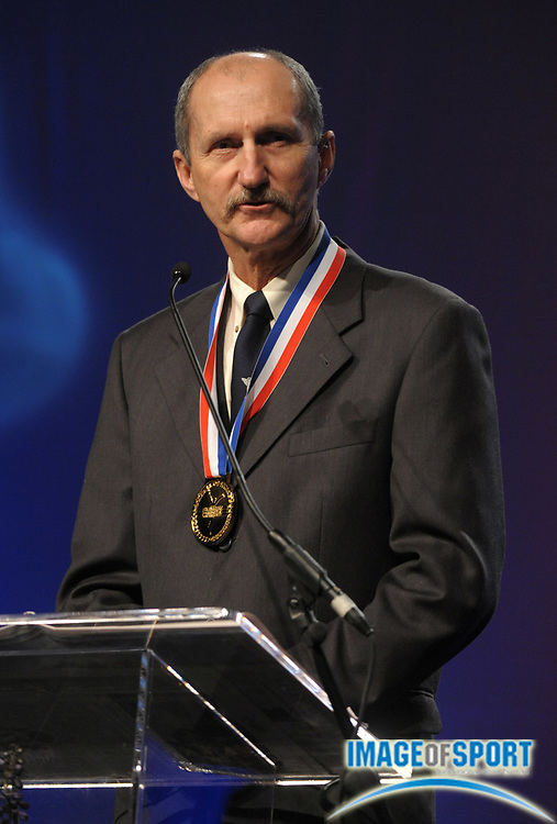 Dec 16, 2009; Orlando, FL, USA; Gary Winckler gives induction speech at the USTFCCCA Convention Hall of Fame induction ceremony.