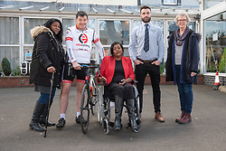 A Charity Bike Ride is linking the two Portobellos in Edinburgh and London this weekend. A former Edinburgh Portobello resident Gordon Barclay will set off tomorrow (Sunday 24th) to cycle to London. The ride will raise funds for Clarrie Mendy, who tragically lost 2 relatives in the Grenfell Tower Disaster and has now been diagnosed with Motor Neurone Disease, and for Doddie Weir's MY NAME5 DODDIE foundation. Pictured: Mandy Benjamin, Gordon Barclay, Clarrie Mendy, Eddie Robb (President of Portobello Rugby Club), Maureen Child, (Portobello, Edinburgh councillor)<br /> <br /> <br /> © Jon Davey/ EEm
