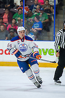 PENTICTON, CANADA - SEPTEMBER 17: Thomas Foster #64 of Edmonton Oilers skates against the Calgary Flames on September 17, 2016 at the South Okanagan Event Centre in Penticton, British Columbia, Canada.  (Photo by Marissa Baecker/Shoot the Breeze)  *** Local Caption *** Thomas Foster;
