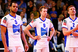 20150426 NED: Eredivisie Landstede Volleybal - Abiant Lycurgus, Zwolle<br />Gino Naarden (5) of Abiant Lycurgus, Chris Voth (9) of Abiant Lycurgus, Jeff Zornig (2) of Abiant Lycurgus<br />©2015-FotoHoogendoorn.nl / Pim Waslander