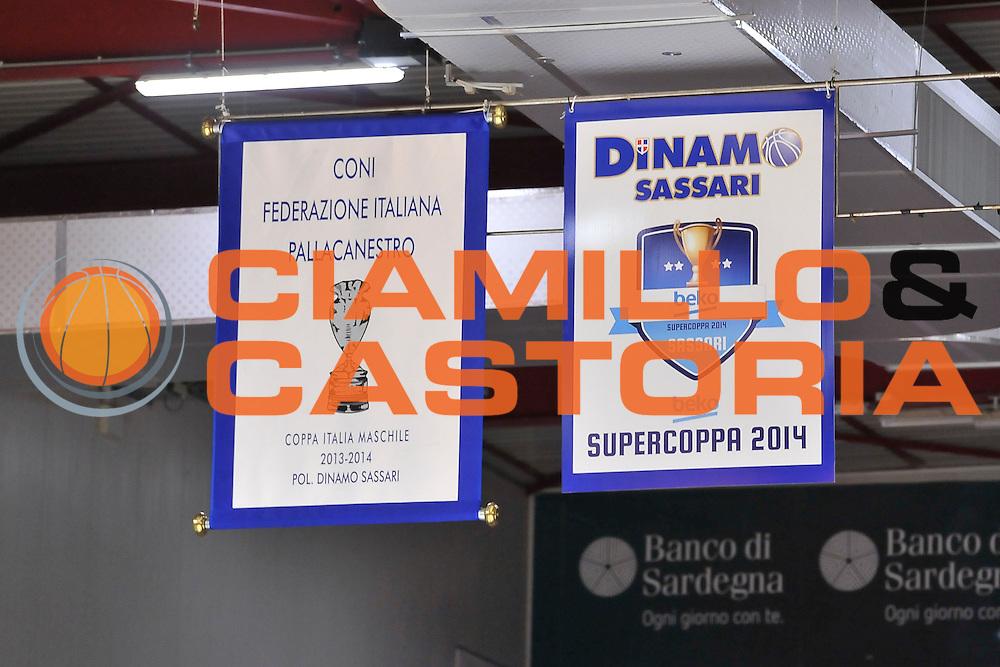 DESCRIZIONE : Campionato 2014/15 Dinamo Banco di Sardegna Sassari - Olimpia EA7 Emporio Armani Milano<br /> GIOCATORE : Stendardi Coppa Italia Supercoppa<br /> CATEGORIA : Palazzetto Palazzo Arena<br /> SQUADRA : Dinamo Banco di Sardegna Sassari<br /> EVENTO : LegaBasket Serie A Beko 2014/2015<br /> GARA : Dinamo Banco di Sardegna Sassari - Olimpia EA7 Emporio Armani Milano<br /> DATA : 07/12/2014<br /> SPORT : Pallacanestro <br /> AUTORE : Agenzia Ciamillo-Castoria / Luigi Canu<br /> Galleria : LegaBasket Serie A Beko 2014/2015<br /> Fotonotizia : Campionato 2014/15 Dinamo Banco di Sardegna Sassari - Olimpia EA7 Emporio Armani Milano<br /> Predefinita :