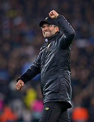 LIVERPOOL, ENGLAND - Tuesday, December 11, 2018: Liverpool's manager Jürgen Klopp celebrates after beating SSC Napoli 1-0 and progressing to the knock-out phase during the UEFA Champions League Group C match between Liverpool FC and SSC Napoli at Anfield. (Pic by David Rawcliffe/Propaganda)
