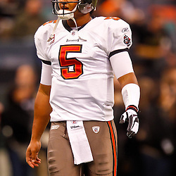 January 2, 2011; New Orleans, LA, USA; Tampa Bay Buccaneers quarterback Josh Freeman (5) during warm ups prior to kickoff of a game against the New Orleans Saints at the Louisiana Superdome. Mandatory Credit: Derick E. Hingle