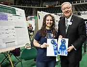 Debra Walter poses for a picture with Ohio University President Duane Nellis during the 2018 Student Research Expo.