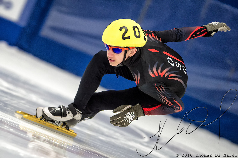 March 19, 2016 - Verona, WI - Clayton DeClemente, skater number 209 competes in US Speedskating Short Track Age Group Nationals and AmCup Final held at the Verona Ice Arena.