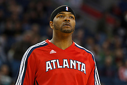 February 25, 2011; Oakland, CA, USA;  Atlanta Hawks power forward Josh Smith (5) warms up before the game against the Golden State Warriors at Oracle Arena. Atlanta defeated Golden State 95-79.