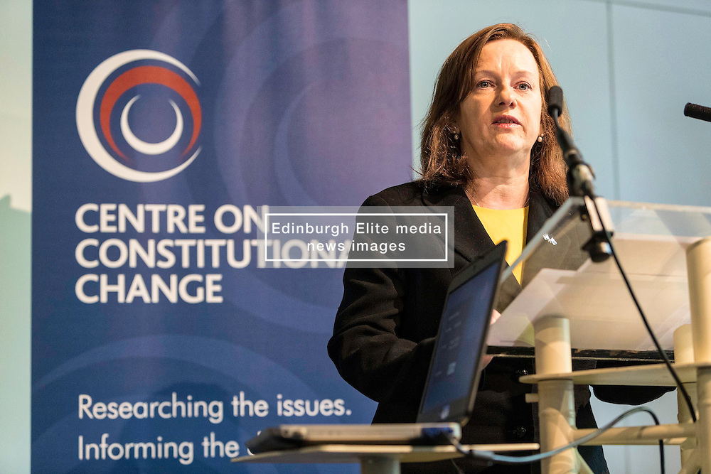 Former First Minister, Henry McLeish,  chairs a series of short talks and debates on the UK's vote to leave the European Union in an event organised by the Centre on Constitutional Change at Dynamic Earth in Edinburgh.<br /> <br /> Pictured: Joan McAlpine MSP Convener of European and External Relations Committee
