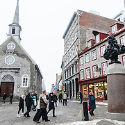 Eglise Notre-Dame-des-Victoires is a small Roman Catholic stone church in the Lower Town of Quebec City. Construction was started in 1687 and was completed in 1723. <br /> The church was largely destroyed by the British bombardment that preceded the Battle of the Plains of Abraham in September 1759. A complete restoration of the church was finished in 1816.<br /> The church, which was listed as a historic monument in 1929, remains a popular tourist attraction within the city, as well as a place of worship. It has undergone extensive restoration in recent decades, to restore its colonial French character. It was designated a National Historic Site of Canada in 1988 and plaqued in 1992.