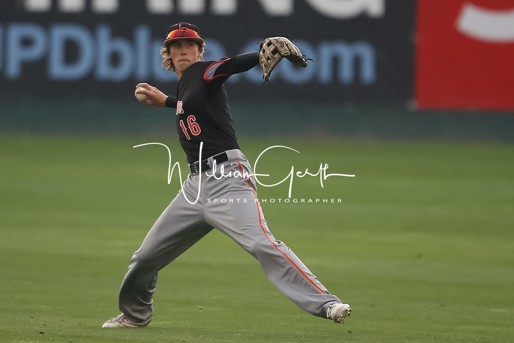 Los Gatos vs Valley Christian in the 2018 CCS Open Division Baseball Championship at San Jose Municipal Stadium, San Jose CA on 5/25/18. (Photograph by Bill Gerth) (Valley Christian 4 Los Gatos 3) A heart-pounding, tension-packed seventh inning ended Friday night with Coleman Brigman crossing home plate with the decisive run after Steven Zobac took a pitch to the thigh.<br />