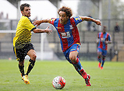 Reise Allassani charging forward during the Final Thirds Development League match between U21 Crystal Palace and U21 Watford at Selhurst Park, London, England on 24 August 2015. Photo by Michael Hulf.