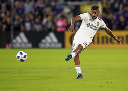 April 21, 2018 - Orlando, FL, U.S. - ORLANDO, FL - APRIL 21: San Jose Earthquakes midfielder Anibal Godoy (20) passes the ball during the MLS soccer match between the Orlando City FC and the San Jose Earthquakes at Orlando City SC on April 21, 2018 at Orlando City Stadium in Orlando, FL. (Photo by Andrew Bershaw/Icon Sportswire) (Credit Image: © Andrew Bershaw/Icon SMI via ZUMA Press)