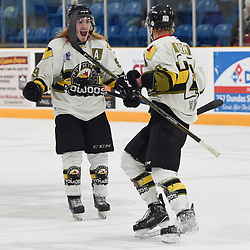 "TRENTON, ON  - MAY 5,  2017: Canadian Junior Hockey League, Central Canadian Jr. ""A"" Championship. The Dudley Hewitt Cup. Game 7 between Georgetown Raiders and the Powassan Voodoos. Dayton Murray #20 celebrates the goal with  Gary Mantz #9 of the Powassan Voodoos during the third period.<br /> (Photo by Andy Corneau / OJHL Images)"