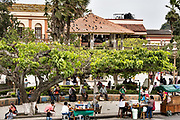 General view of the Plaza Central Israel Tellez Park in Papantla, Veracruz, Mexico.