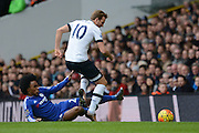 Chelsea midfielder Willian tackles Tottenham Hotspur striker Harry Kane during the Barclays Premier League match between Tottenham Hotspur and Chelsea at White Hart Lane, London, England on 29 November 2015. Photo by Alan Franklin.