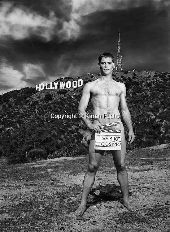 Sam Page for Cosmopolitan Uk centrefold spread in the Hollywood Hills Los Angeles