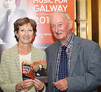 Claire Cuddy Music for Galway with Colm O'Beirne Barna  in Hotel Meyrick for the launch of Music for Galway's new International Concert Season 'Aimez-vous Brahms?' opening on September 28th and running until May 18th including main concert series, Lunchtime series and Midwinter Festival.  . Photo: xposure.