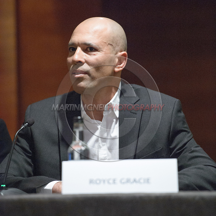 "LONDON, ENGLAND, APRIL 18, 2016: Royce Gracie is pictured during the event announcement press conference for ""Bellator 158: Slice vs. Thompson"" inside the Four Seasons Hotel in Park Lane, London (© Martin McNeil)"