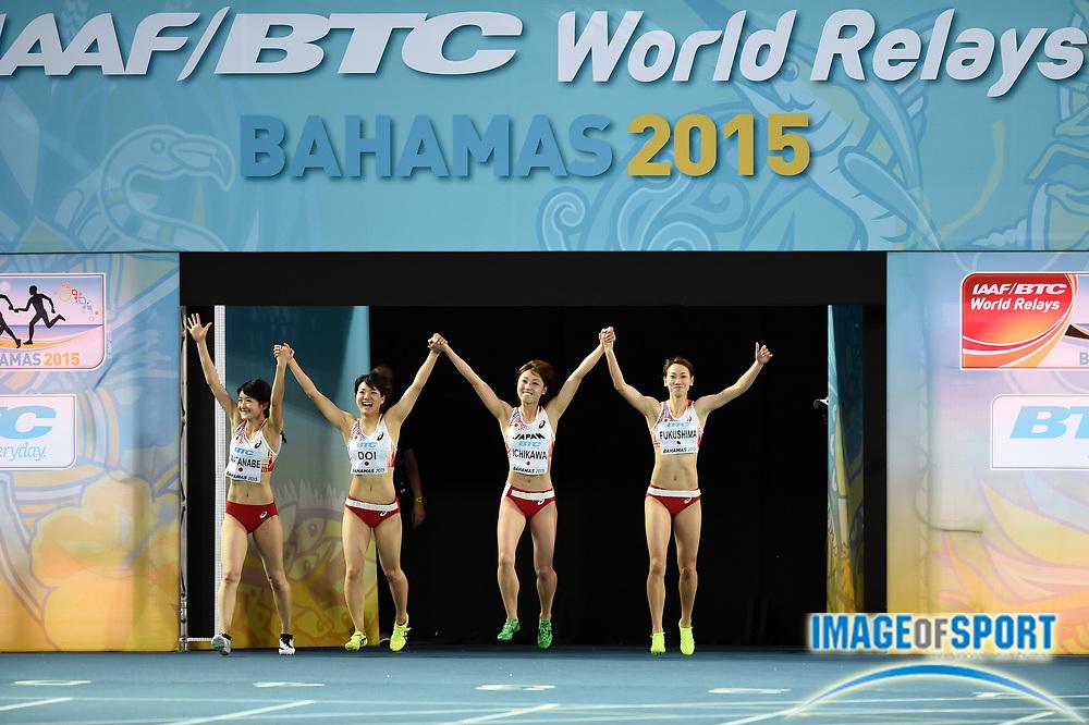May 3, 2015; Nassau, Bahamas; Members of the Japan womens 4 x 100m relay are introduced at the 2015 IAAF World Relays at Thomas A. Robinson National Stadium.  From left:  Mayumi Watanabe and Anna<br /> Doi and and Kana Ichikawa and Chisato Fukushima.<br /> Photo by Jiro Mochizuki