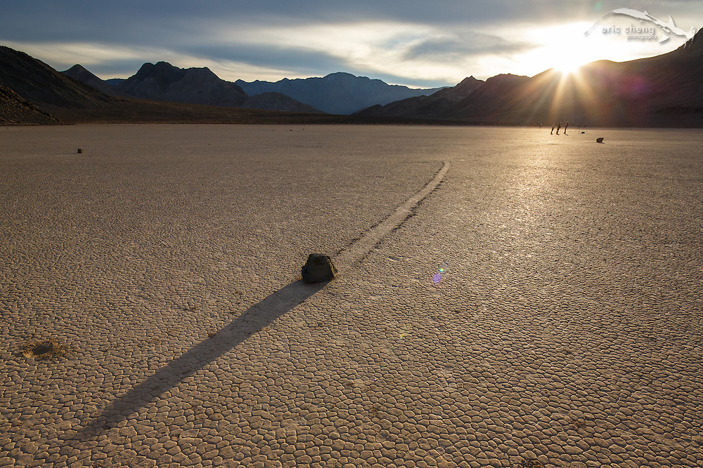 A rock leaves a mysterious trail at The Racetrack in Death Valley.