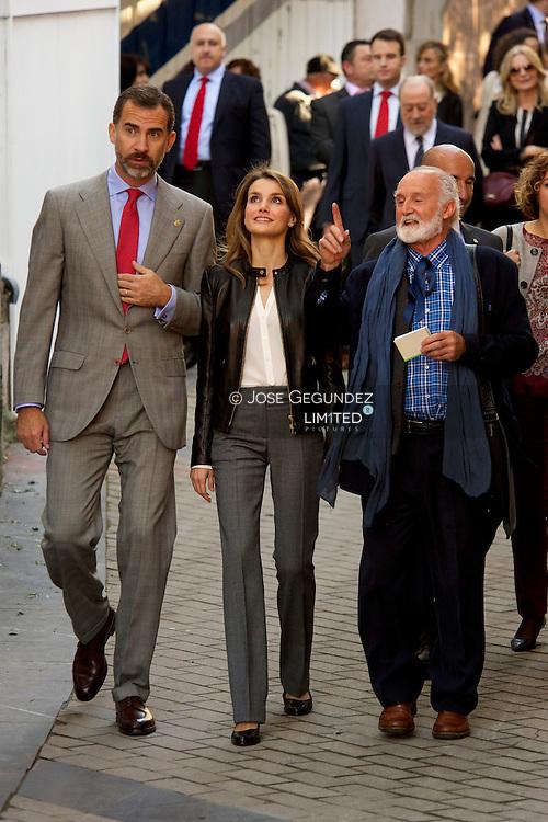 Prince Felipe of Spain and Princess Letizia of Spain visit the village of Teverga on October 26, 2013 in Asturias, Spain. The village of Teverga was honoured as the 2013 Best Asturian Village during the 'Prince Asturias Awards 2013'.