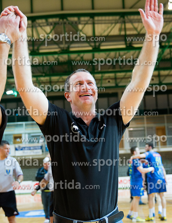 Vladan Matic, head coach of Celje celebrates after the handball match between RK Cimos Koper and RK Celje Pivovarna Lasko in 26th Round of 1st NLB Leasing league 2012/13 on April 14, 2013 in Arena Bonifika, Koper, Slovenia. Celje PL defeated Cimos Koper 36-31. (Photo By Vid Ponikvar / Sportida)