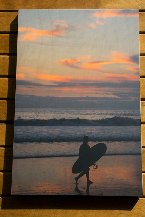'Surfer Girl' photograph printed on maple wood.
