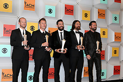 Whit Sellers, Trevor Rosen, Matthew Ramsey, Brad Tursi, Geoff Sprung, Old Dominion, at the 2016 Academy of Country Music Awards Press Room, MGM Grand Garden Arena, Las Vegas, NV 04-03-16. EXPA Pictures © 2016, PhotoCredit: EXPA/ Photoshot/ Martin Sloan<br /> <br /> *****ATTENTION - for AUT, SLO, CRO, SRB, BIH, MAZ, SUI only*****