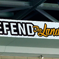 07 June 2017: Defend the Land logo is seen during the Golden State Warriors 118-113 victory over the Cleveland Cavaliers, in game 3 of the 2017 NBA Finals, at  the Quicken Loans Arena, Cleveland, Ohio, USA.