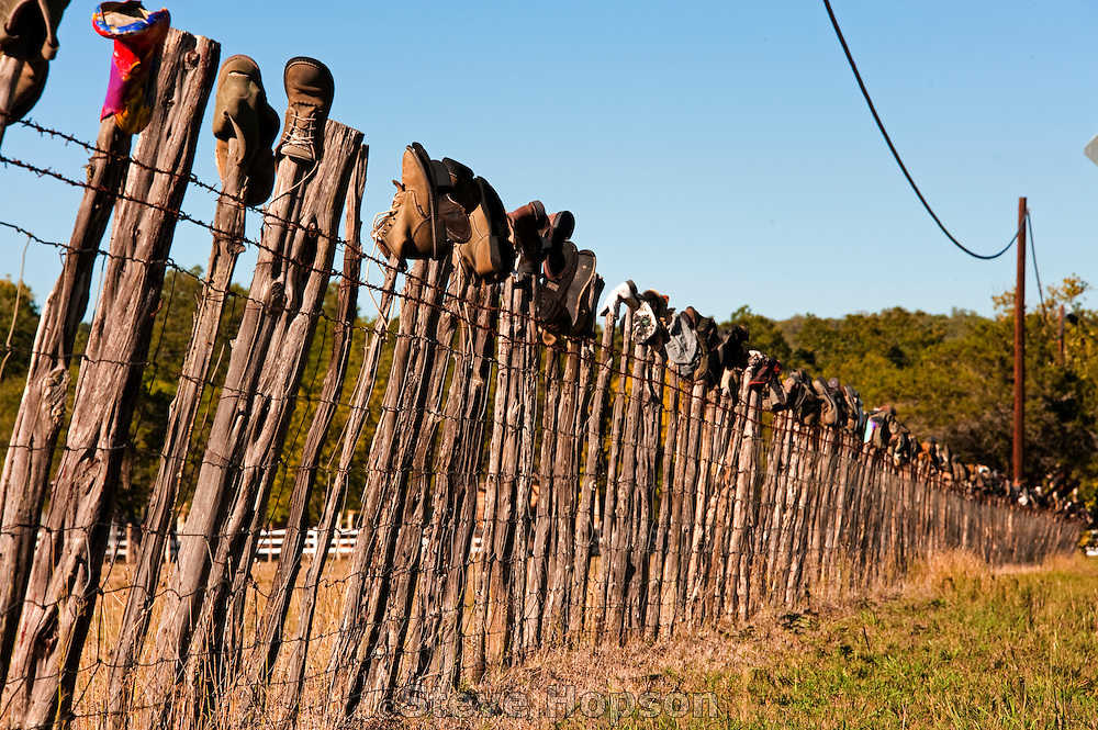 Boot Hill, a boot fence in Hunt, Texas, October 16, 2011.