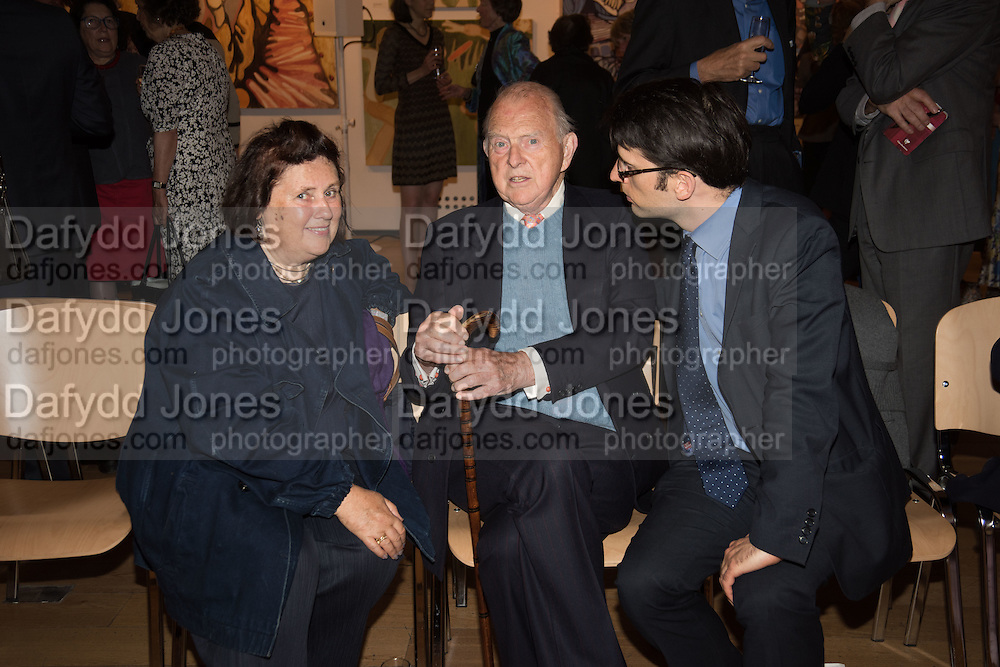 SUSY MENKES; RICHARD KING; SAMSON SPANIER, Exhibition opening of paintings by Charlotte Johnson Wahl. Mall Galleries. London, 7 September 2015.
