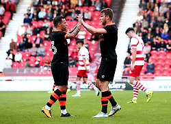 Sam Winnall of Sheffield Wednesday celebrates with Ross Wallace after scoring a goal - Mandatory by-line: Robbie Stephenson/JMP - 26/07/2017 - FOOTBALL - The Keepmoat Stadium - Doncaster, England - Doncaster Rovers v Sheffield Wednesday - Pre-season friendly