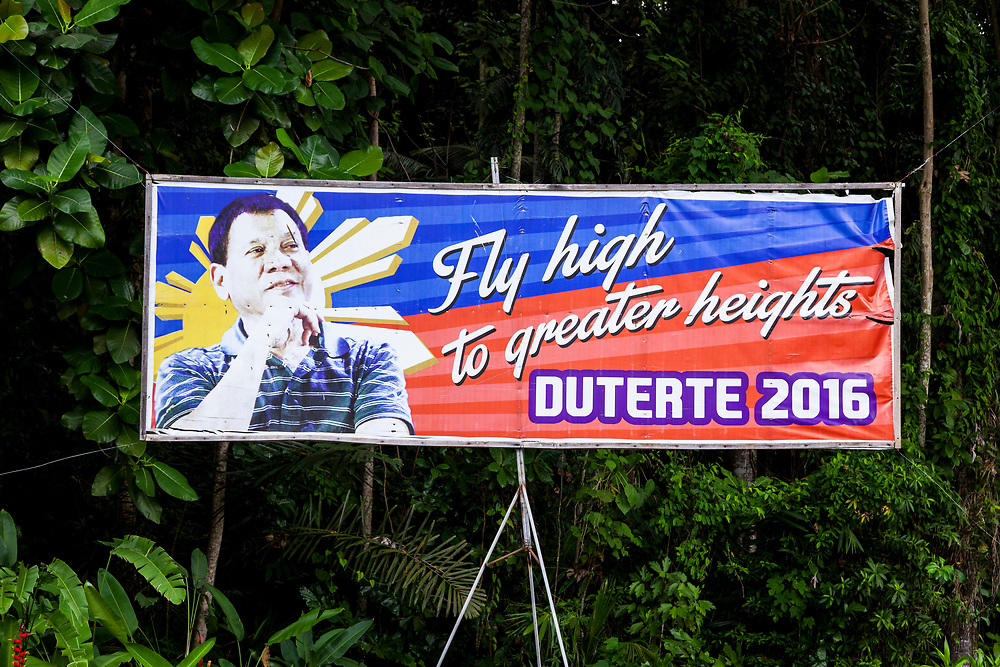 Samal Island, Mindanao, Philippines - JUNE 23: A poster in support of President Duterte is seen posted in front of a residence in Samal Island.
