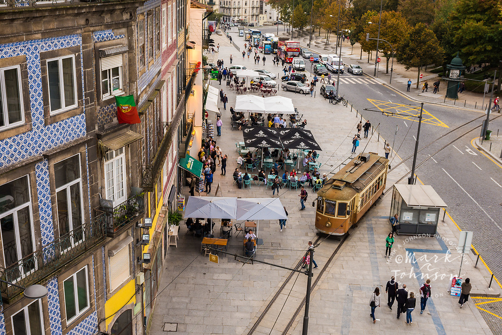 Cafes & cable car on Rua Campo dos Martires da Patria, Porto, Portugal