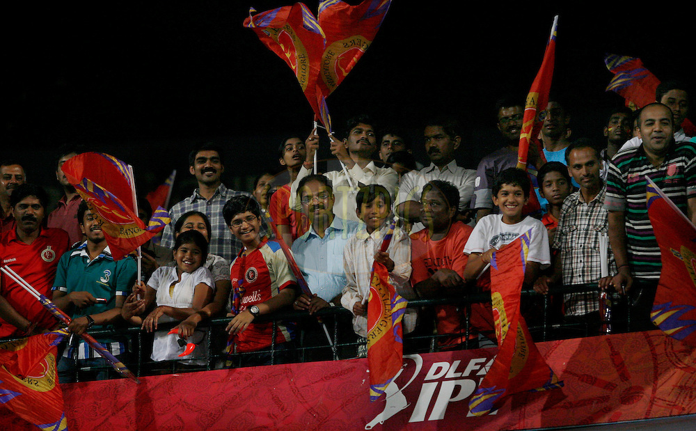 RCB supporters during match 47 of the the Indian Premier League ( IPL ) Season 4 between the Royal Challengers Bangalore and the Kings XI Punjab held at the Chinnaswamy Stadium, Bangalore, Karnataka, India on the 6th May 2011..Photo by Vino John/BCCI/SPORTZPICS