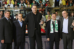 Roman Lisac, xy, Ratko Radovanovic, general manager of FMP (best manager), Zoran Jankovic and Dusko Vujosevic (best coach of season 2007/2008) during before semi-final match of Basketball NLB League at Final four tournament between KK Partizan Igokea, Beograd, Serbia and Union Olimpija, Ljubljana, Slovenia, on April 25, 2008, in Arena Tivoli in Ljubljana. Match was won by Partizan 94:90. (Photo by Vid Ponikvar / Sportal Images)