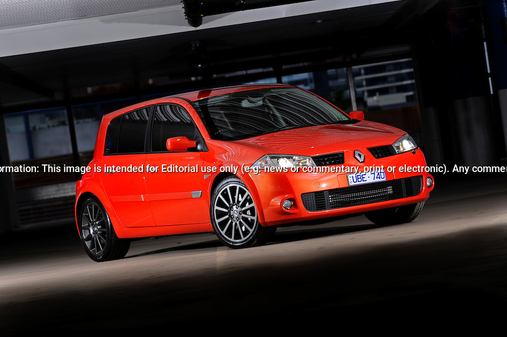 2006 RenaultSport Megane 225 Cup - Blood Orange  .Docklands, Melbourne, Victoria.13th June 2010.(C) Joel Strickland Photographics.Use information: This image is intended for Editorial use only (e.g. news or commentary, print or electronic). Any commercial or promotional use requires additional clearance.