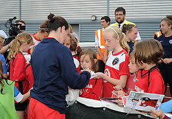 Bristol Academy Womens' Natalia Pablos Sanchon signs autographs - Photo mandatory by-line: Dougie Allward/JMP - Mobile: 07966 386802 - 28/09/2014 - SPORT - Women's Football - Bristol - SGS Wise Campus - Bristol Academy Women's v Manchester City Women's - Women's Super League