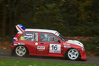 #16 Peter Smith / Alan Walker MG Metro 6R4 RAC Swift Caravansduring Neil Howard Memorial Stage Rally, and opening round of the 2015 Motorsport News Rally Championship.  at Oulton Park, Little Budworth, Cheshire, United Kingdom. November 07 2015. World Copyright Peter Taylor. Copy of publication required for printed pictures.  Every used picture is fee-liable. http://archive.petertaylor-photographic.co.uk
