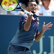 2017 U.S. Open Tennis Tournament - DAY THREE.  Nick Kyrgios of Australia in action against John Millmanof Australia during the Men's Singles round one match at the US Open Tennis Tournament at the USTA Billie Jean King National Tennis Center on August 30, 2017 in Flushing, Queens, New York City.  (Photo by Tim Clayton/Corbis via Getty Images)