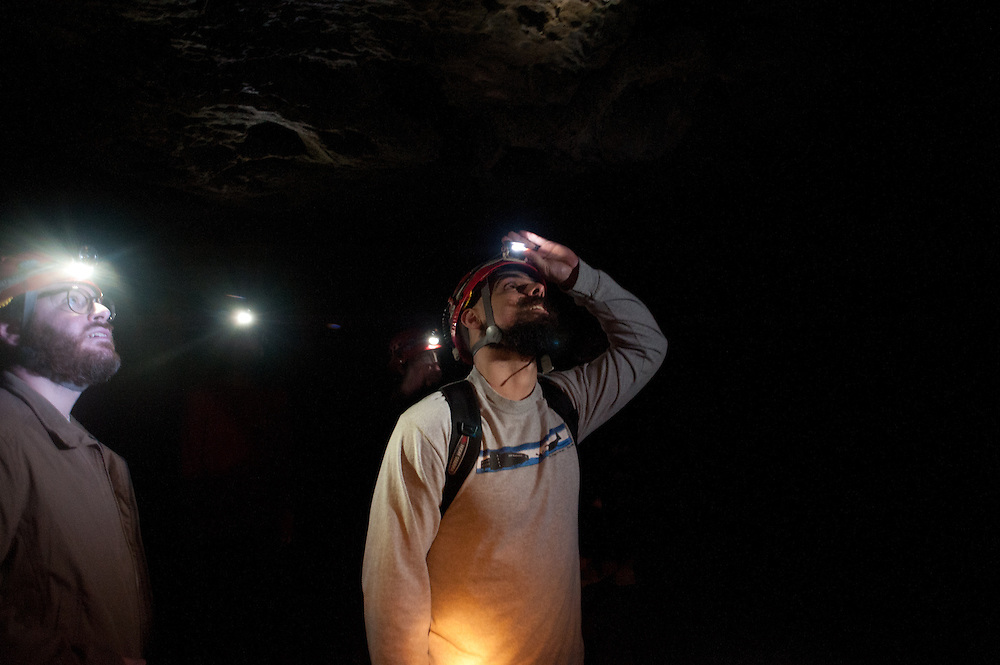 Seth Klein, left, and Ethan Sigel examine the Skeleton Cave in Bend, Oregon on Friday, June 4 during the 2010 Beard Team USA National Beard and Mustache Championships.