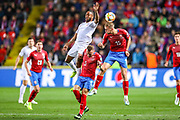 England forward Raheem Sterling and Czech Republic midfielder Tomas Soucek (15) clash in the air during the UEFA European 2020 Qualifier match between Czech Republic and England at Sinobo Stadium, Prague, Czech Republic on 11 October 2019.