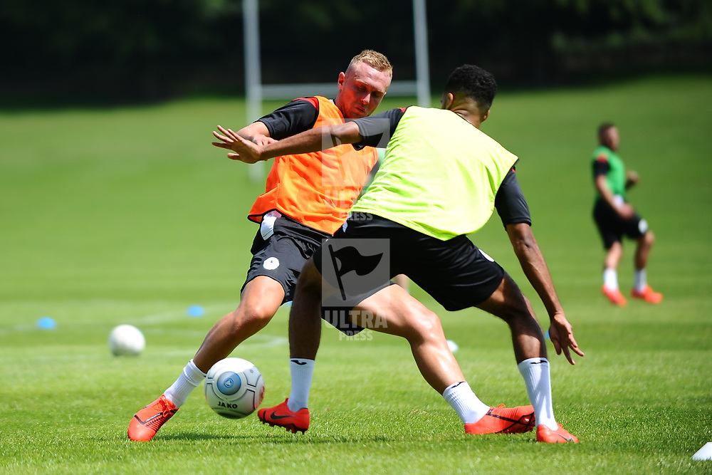 Jon Royle battles for the ball as AFC Telford United return to pre-season training at Lilleshall National Sports Centre on Saturday, June 29, 2019.<br /> <br /> Free for editorial use only<br /> Picture credit: Mike Sheridan/Ultrapress<br /> <br /> MS201920-003