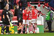 Barnsley celebrate goal scored by Barnsley forward Conor Chaplin (11) to go 1-0  during the EFL Sky Bet Championship match between Barnsley and Middlesbrough at Oakwell, Barnsley, England on 22 February 2020.