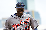 Torii Hunter #48 of the Detroit Tigers heads off the field during a game against the Minnesota Twins on April 3, 2013 at Target Field in Minneapolis, Minnesota.  The Twins defeated the Tigers 3 to 2.  Photo: Ben Krause