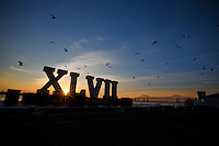 3 February 2013: The Superbowl XLVII roman numerals sit on a barge on the Mississippi river the morning the that the Baltimore Ravens play the San Francisco 49ers in Superbowl XLVII at the Mercedes-Benz Superdome in New Orleans, LA.