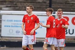 MERTHYR TYDFIL, WALES - Thursday, November 2, 2017: Wales' Rob Reynolds celebrates scoring the first goal during an Under-18 Academy Representative Friendly match between Wales and Newport County at Penydarren Park. (Pic by David Rawcliffe/Propaganda)
