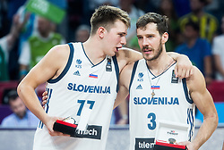 Luka Doncic of Slovenia and Goran Dragic of Slovenia celebrating as best of 5 players at Trophy ceremony after winning during the Final basketball match between National Teams  Slovenia and Serbia at Day 18 of the FIBA EuroBasket 2017 and become Europen Champions 2017, at Sinan Erdem Dome in Istanbul, Turkey on September 17, 2017. Photo by Vid Ponikvar / Sportida