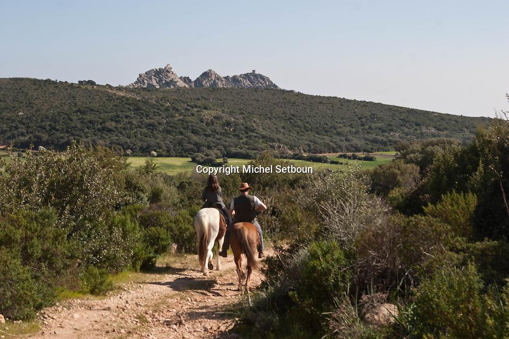 Corsica. France. Horse riding in  Erbaggiu  Corsica south  France   / randonnee a cheval a Murtuli / Erbaggiu sud corse  Corse du sud  France