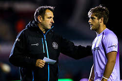 Exeter Chiefs Head Coach Ali Hepher talks to Sam Maunder of Exeter Chiefs - Mandatory by-line: Robbie Stephenson/JMP - 27/09/2019 - RUGBY - Welford Road - Leicester, England - Leicester Tigers v Exeter Chiefs - Premiership Rugby Cup