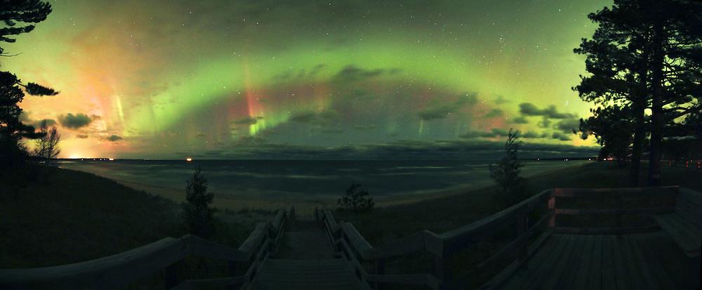 Aurora Borealis Northern Lights over Lake Superior in the Upper Peninsula of Michigan Marquette aurora borealis northern lights in the upper peninsula of michigan Northern Lights aurora borealis panorama, panoramic Upper Peninsula of Michigan